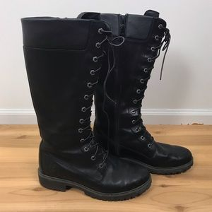 Timberland black knee high lace up boots size 10